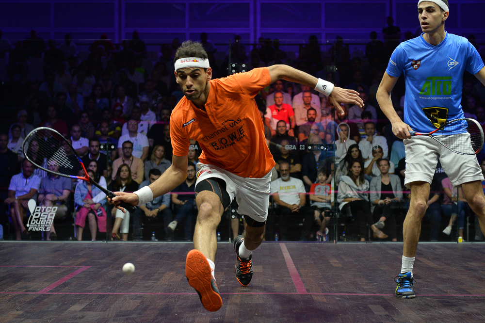 Dubai, UAE. 9th Jun, 2018. World no. 1 Mohamed ElShorbagy of Egypt  beat compatriot Ali Farag to win the Men's 2017/18 PSA Dubai World Series Finals. El Shorbagy took 52 minutes to retain his title, winning 9-11, 11-3, 11-9, 11-8