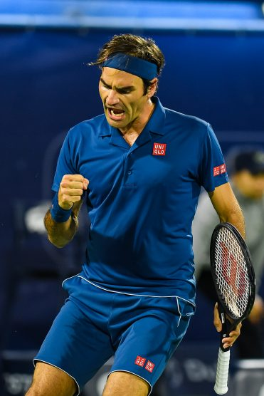 Dubai, UAE. 2nd March 2019. Roger Federer of Switzerland wins in straight sets against Stefanos Tsitsipas in the finals of the 2019 Dubai Duty Free Tennis Championships. Federer won 6-4, 6-4 to win his 8th Dubai title and 100th ATP singles title